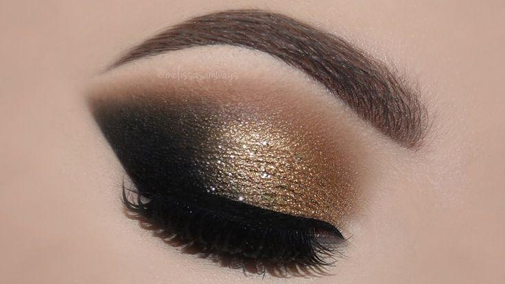 ♡ Gold Glam Cat Smokey Eyes & Perfect Skin Makeup Tutorial | Melissa Sam...