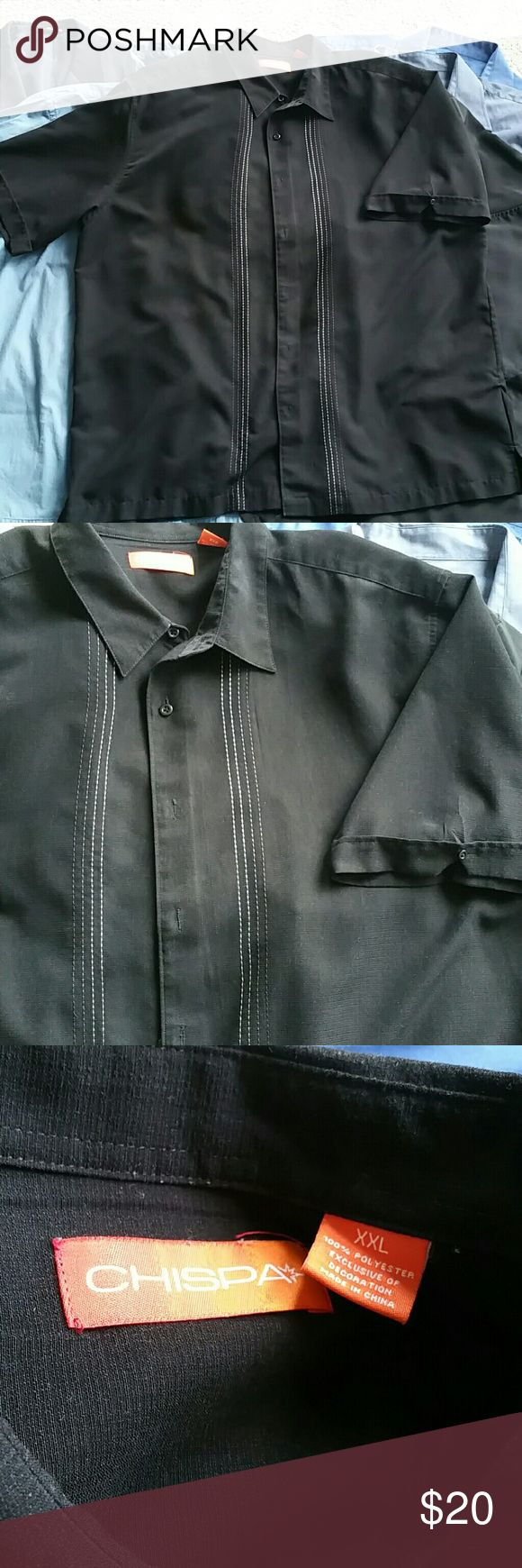 Like New!  Men's Short  Sleeved Dress Shirt Single botton on cuff of folded sleeves  4 embroidered stripes on either side of the buttons Chispa Shirts Dress Shirts