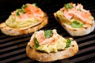 Salmon, lentil purée and herb bruschetta