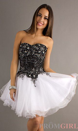Alyce Black and White Party Dress for Prom 4298 at PromGirl.com