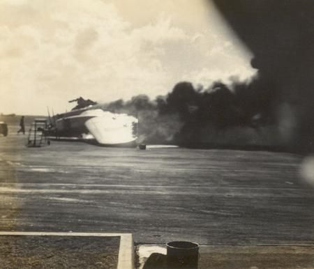 B-17 on fire at Hickam, Pearl Harbor, Dec. 7 1941