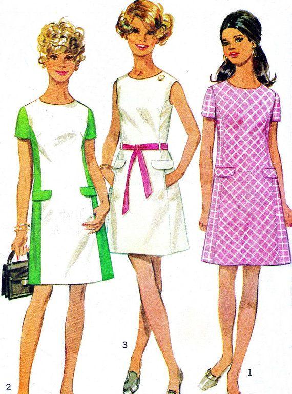 negli anni ' 60 abito modello semplicità 8083 Mod Princess Seam colore blocco vestito Mini Abito da cucire d'epoca modello busto 34