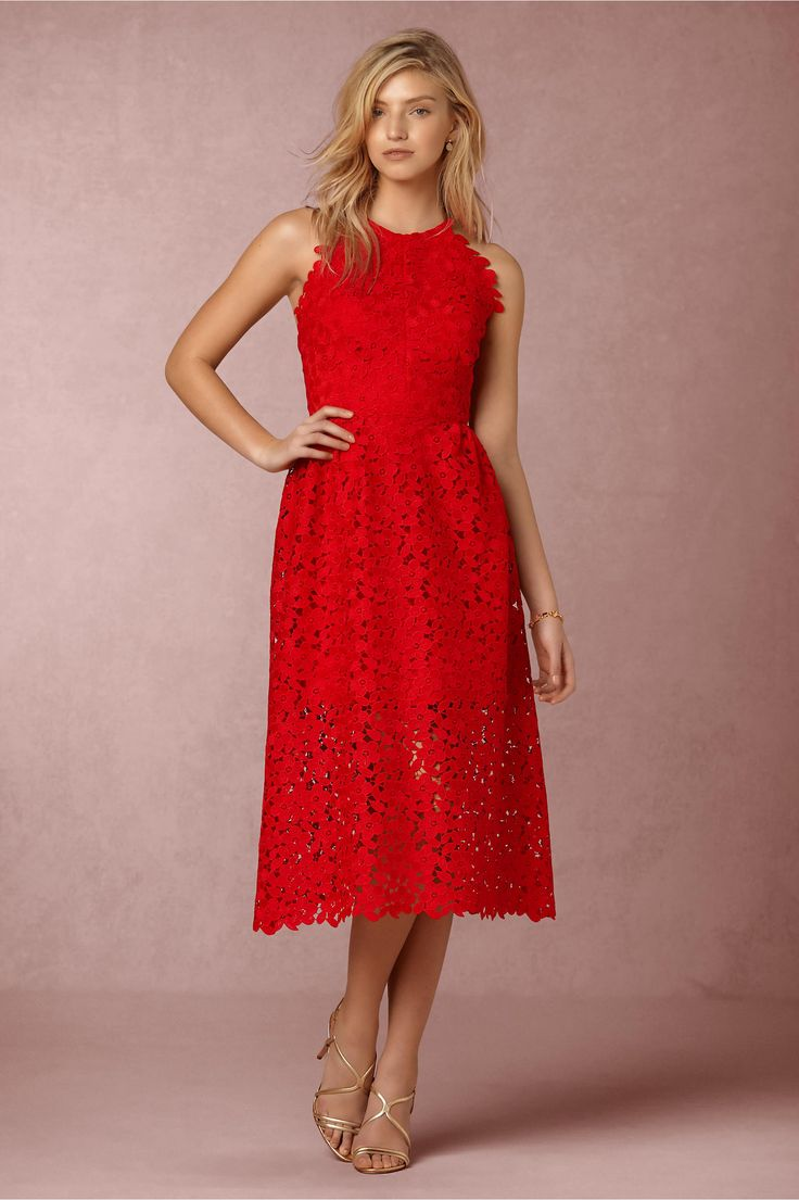 The perfect little red dress merci midi dress from bhldn for Wedding guest dresses miami