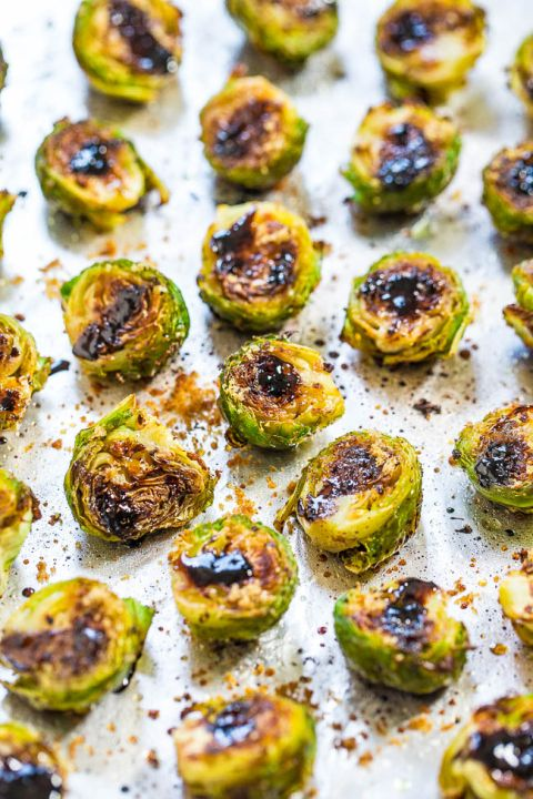 Balsamic+Roasted+Brussels+Sprouts+-+Think+you+don't+like+brussels+sprouts?+The+balsamic+glaze+on+these+will+change+your+mind!!+BEST+brussels+sprouts+ever!!+Fast,+easy,+and+accidentally+healthy!