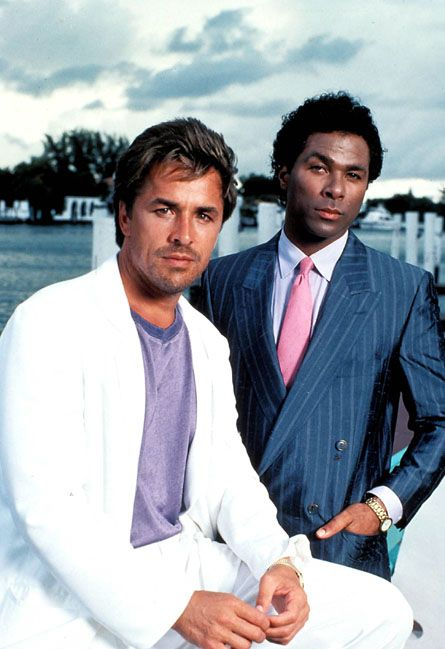 Miami vice! i remember as a teenager going out on a freezing night in Yorkshire wearing a white suit , vest , and no socks !