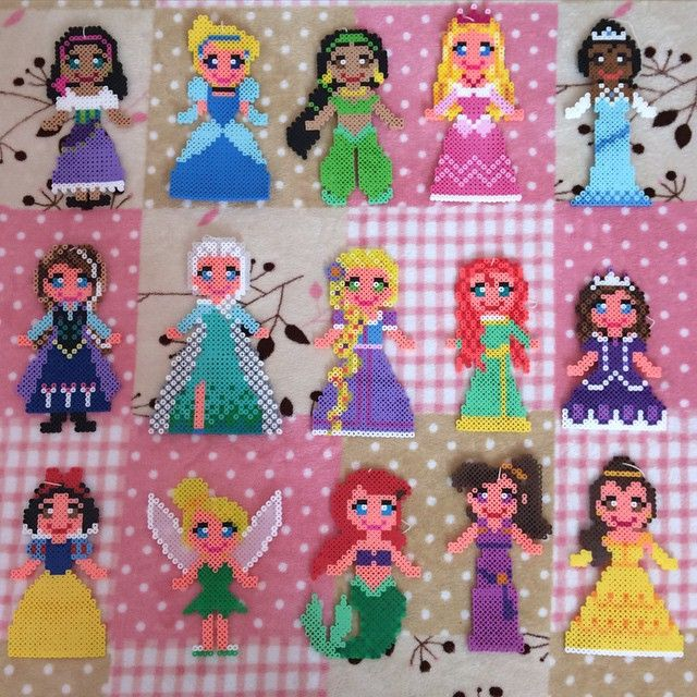 Disney Princess perler beads by k_booo_88