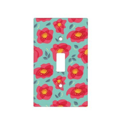 Spring Flowers Pattern With Bright Pink Petals Light Switch Cover - pattern sample design template diy cyo customize