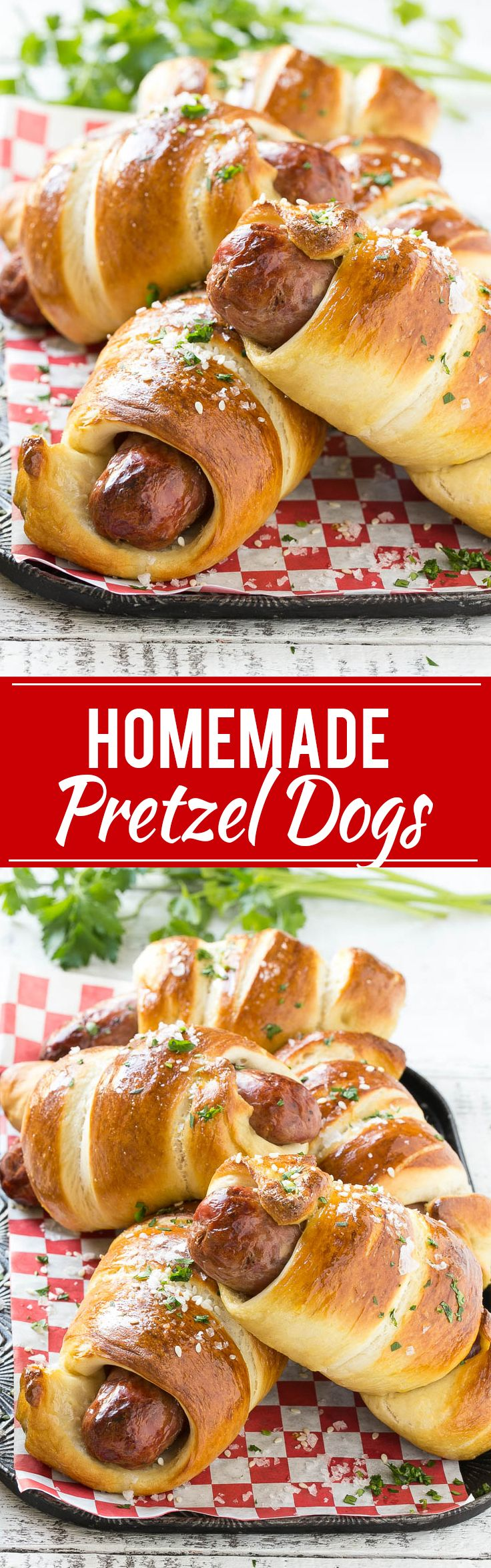 This recipe for pretzel dogs is made with homemade pretzel dough which is wrapped around chicken sausages and baked to golden brown perfection.