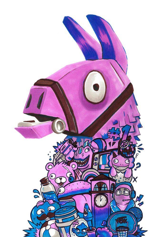 image of fortnite llama art limited edition signed embossed - dibujos de la llama dj de fortnite para colorear