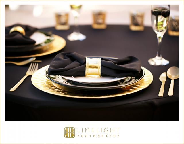 James Bond Theme Wedding, Don CeSar Courtyard, Black and Gold