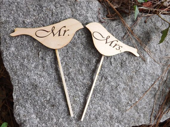 $10 =  Love Bird Shaped Rustic Wood Cake Toppers, Wedding Favors, Rustic Wedding, Vintage Cake Toppers, Personalized