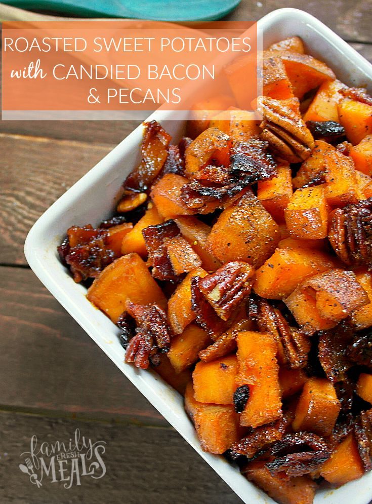 Roasted Sweet Potatoes with Candied Bacon