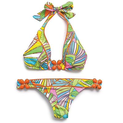 Trina Turk Deco Palms Halter and Hipster, $80-96: Coastal Living Magazine, Halter Bikini, Color