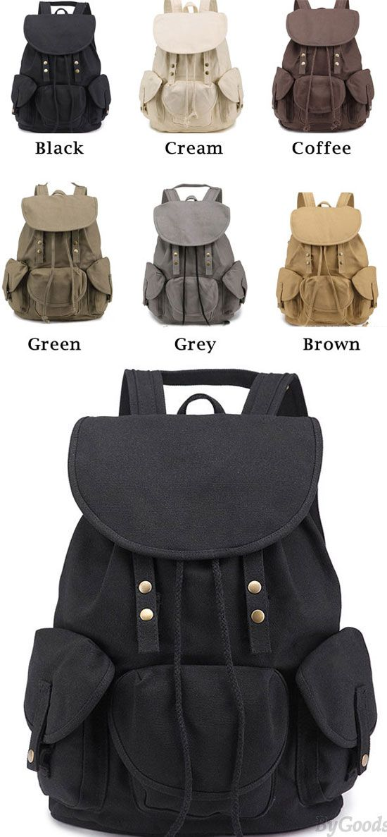 Leisure Three Pockets High School Bag Student Travel Canvas Backpack   leisure  backpack  Bag  student  college 671e08b10cc12