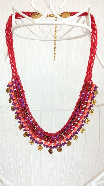 statement women necklacevivid colorsboho by HANDMADETHIS on Etsy
