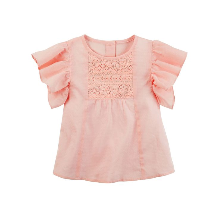 Girls 4-8 Carter's Flutter Lace Tee, Size: 6X, Pink