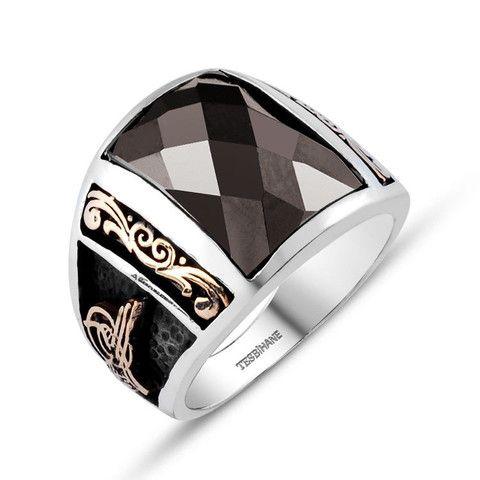 Men's Silver Ottoman Ring with Crystal Cut Black Zirconium – Modefa USA