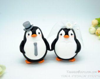Custom Love Bird Penguin Wedding Cake Toppers,Bride And Groom Penguin Cake Toppers,Funny Penguin Cake Toppers