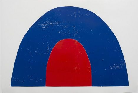 Painting of Andrea Büttner's Tent, a child-like arched images of a navy tent with a red door.