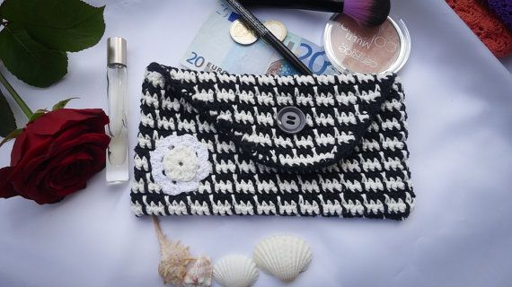 Crocheted Houndstooth Clutch  Purse  Cosmetic Bag  by MadeByLauri