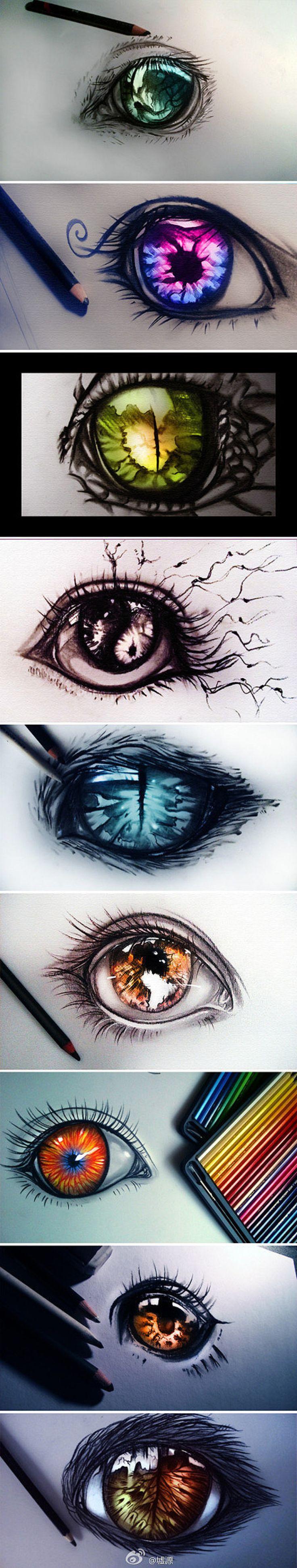 【绘画素材】超漂亮的眼睛,作者一定是画眼睛的高手,总之是触爆了,小图就很高能,(つω`)~和墟源完全不是一个等级的战斗力啊。 插画手绘 手稿 素描 铅笔画…