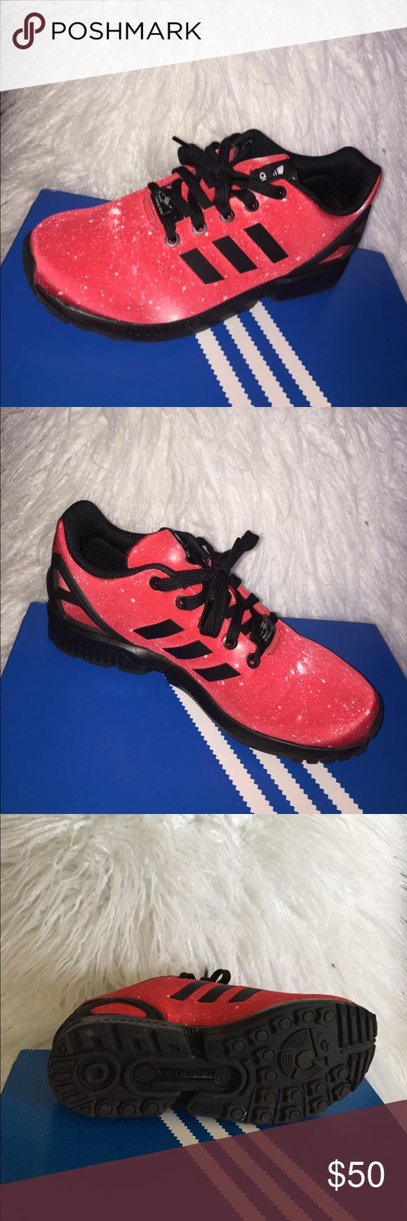 Adidas Originals Sneakers ZX FLUX K, red and black, worn once, comes with original box, technically a kids size 6 but fits 7.5 in women's, OBO adidas Shoes Sneakers
