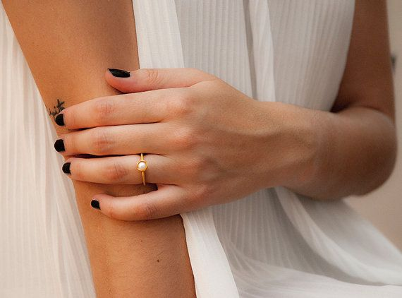 Freshwater Pearl Ring Gold Fill Silver Solitaire by MelioJewels