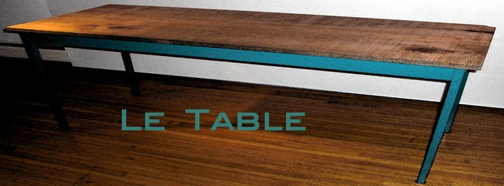 Le Table. Hand finished maple with reclaimed metal  base.