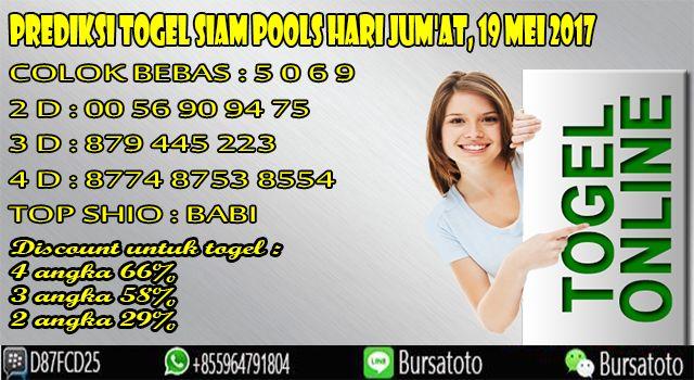 Prediksi Togel SIAM POOLS Hari JUM'AT, 19 Mei 2017 Daftar