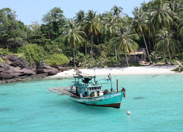 Vietnam: Apart from the dense inland forests the coast of Phu Quoc has long stretches of white sandy beaches and translucent water. The beauty continues under the water in the surrounding coral reefs. The 99 Peaks mountain range covered with unique plants, trees, waterfalls and inhabited by seldom seen indigenous animals are the best place to see the island from.