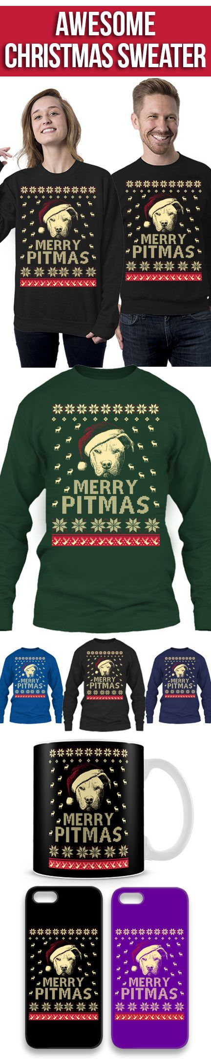 Merry Pitmas Sweater! Click The Image To Buy It Now or Tag Someone You Want To Buy This For. #pitbull