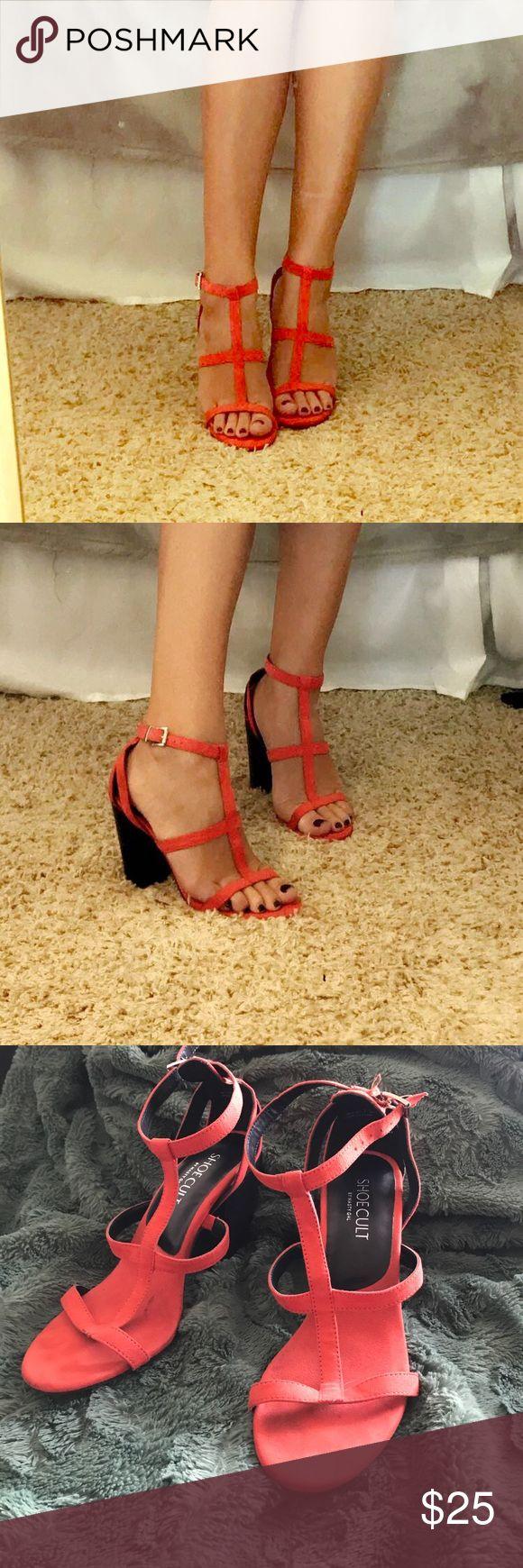 Orange heels Burnt orange strappy heels, worn twice. Super comfy! Shoes Heels