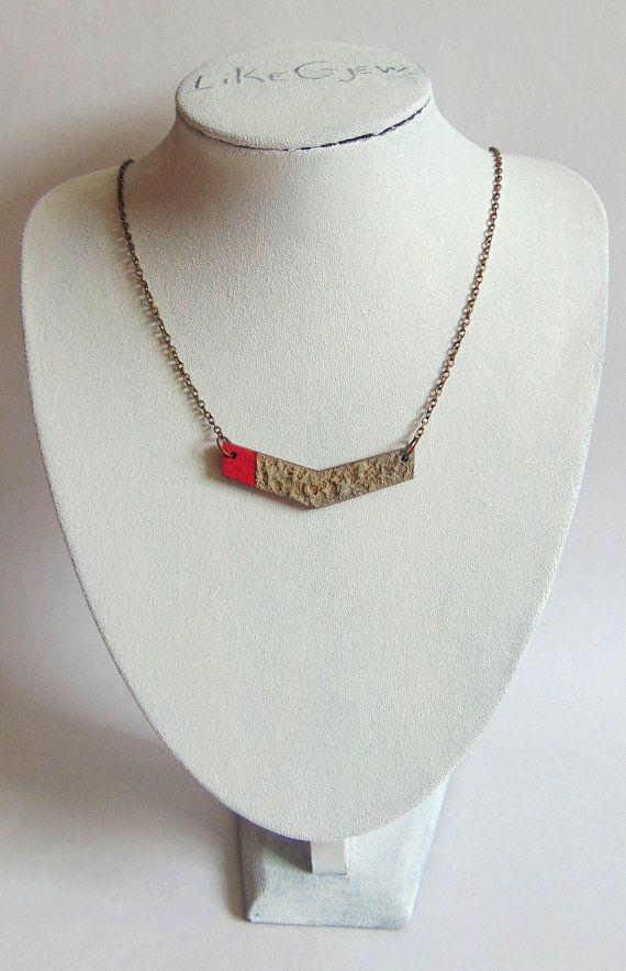 Chevron Halskette geometrische Beton Beton von LiKeGjewelry auf Etsy
