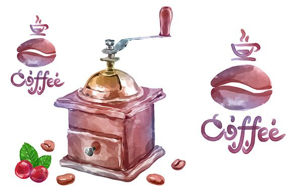 Vector watercolor coffee objects 5 by Krol on @creativemarket