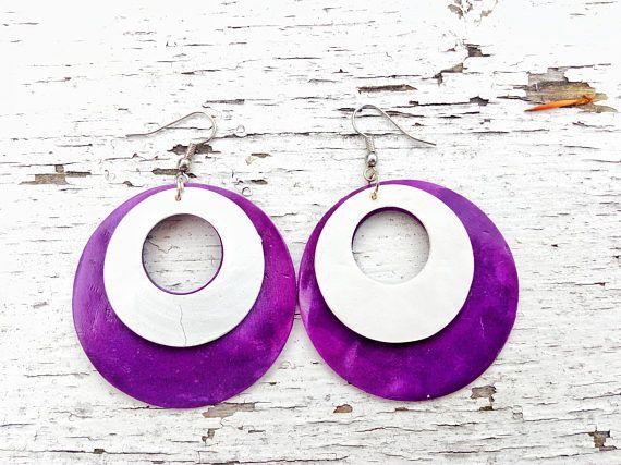 Colorful Ivory Earrings Happy Earrings Boho Hippie Drops