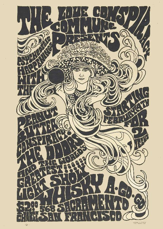 Vintage The Doors concert poster. - Hippie, Woodstock, classic rock.
