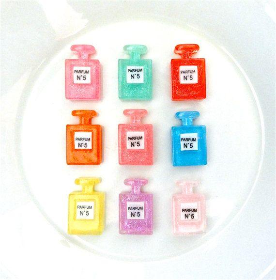 9 pcs  Glitter Perfume Parfume Bottle Resin by CraftyMissBettie