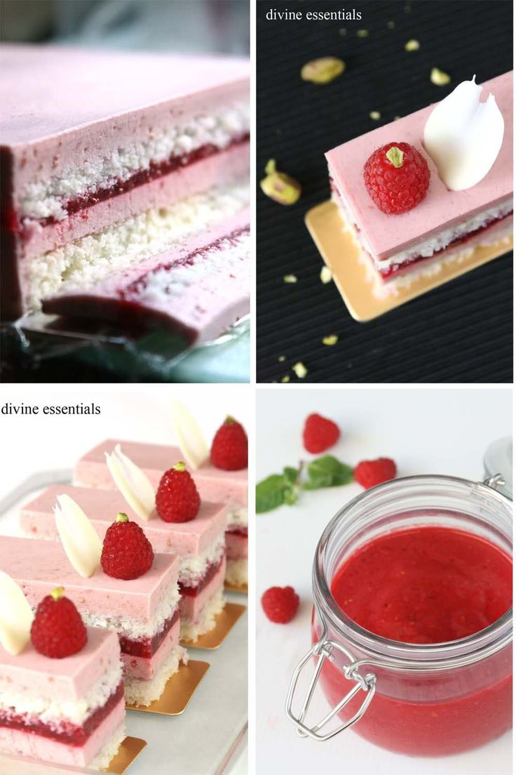 Raspberry Mousse. Raspberry Gelee. Coconut Dacquoise.  White Chocolate. Pistachio. . Pink  is alluring. Raspberries  are love. With a few p...