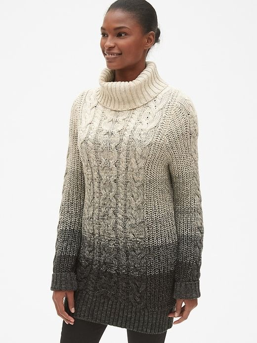 1a777e3bec9c Gap Women s Cable-Knit Turtleneck Tunic Sweater Marled Beige in 2019 ...