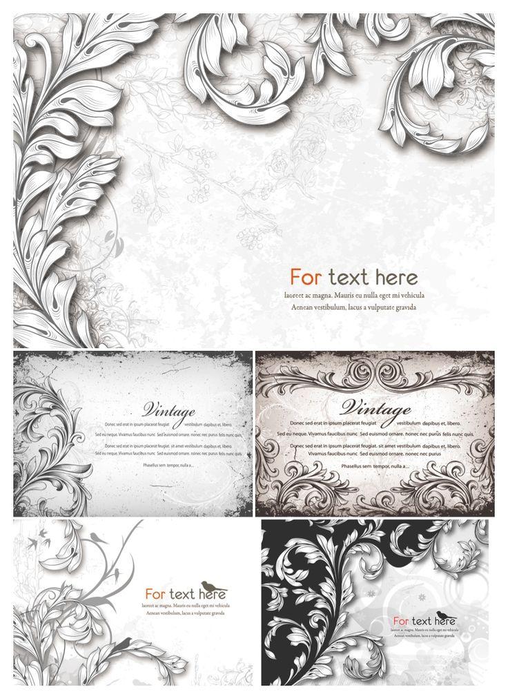 Vintage engraved floral backgrounds vector. Set of 5 vector vintage engraved floral backgrounds with some ornamental decorations, good for postcard designs. Format: EPS stock vector clip art. Free for download. Theme: vector ornaments, ornate backgrounds.