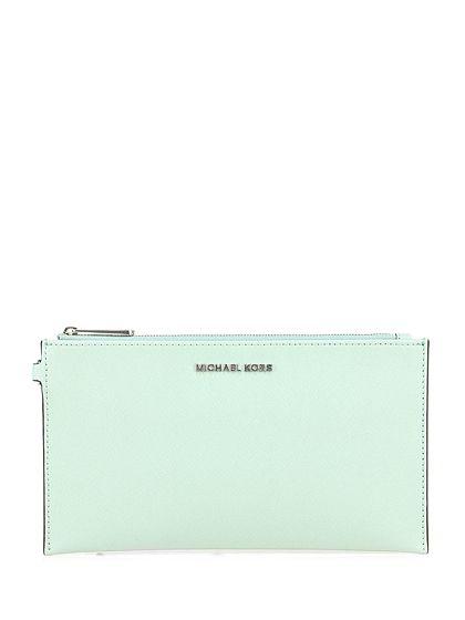 Michael Kors - Borse - Accessori - Pochette in pelle saffiano con chiusura a zip e polsiera. Decorazioni silver, misure 25 x 13,5 cm. - CELADON - € 110.00