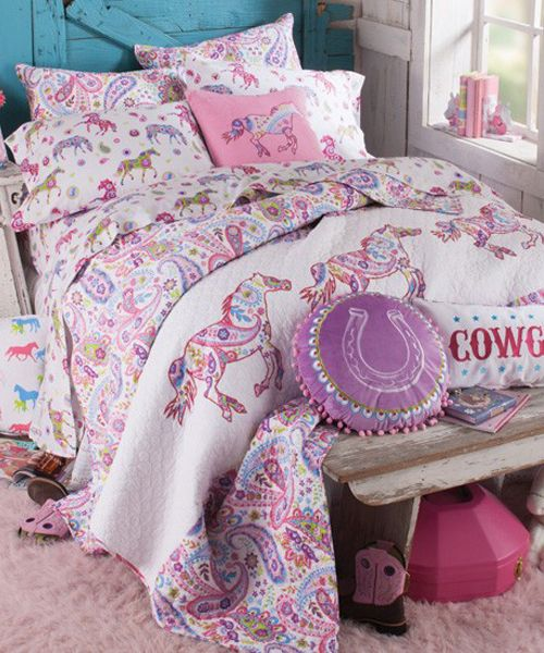 Pony Bedding Pony Bedding: Cowgirls of all ages will be delighted with this cheerful, beautiful pastel pony bedding. Bursting with blooming colors, paisleys, and playful ponies all around, this bedding is like a promise of warm spring days to come. This bedding is perfect for tweens and teens, as its style is fresh and fun but