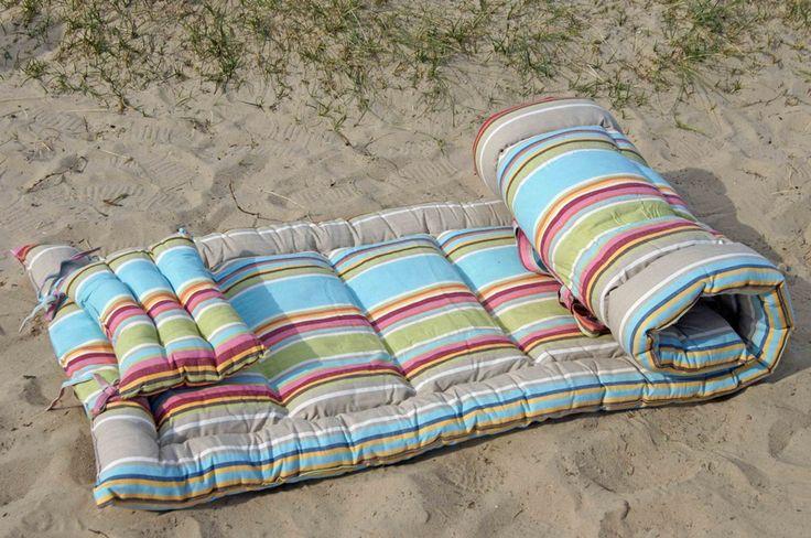 Roll Up Padded Beach Mattress Dorset Stripe From Www