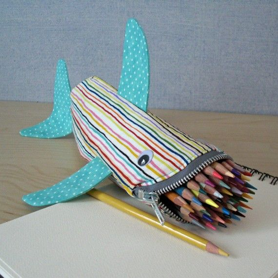Shark pencil bag...would be cute to stock full of coloring supplies for the little ones at the wedding :)