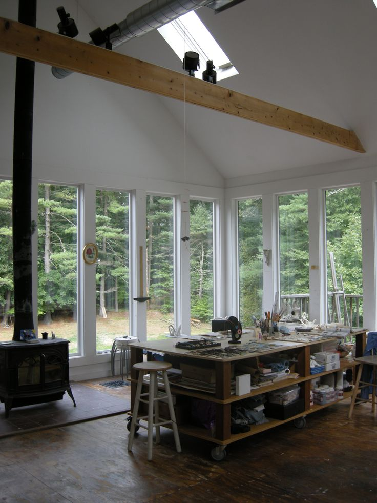 A studio with lots of natural light.