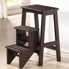 NEW Kitchen Office Home Fold Step Stool Brown Classic 3 Platform Ladder Wooden