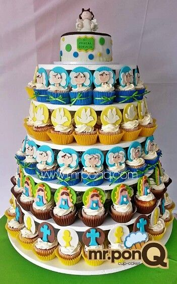 Cup-cakes angelitos. Virgencitas.palomitas primera comunion.mr.ponQ
