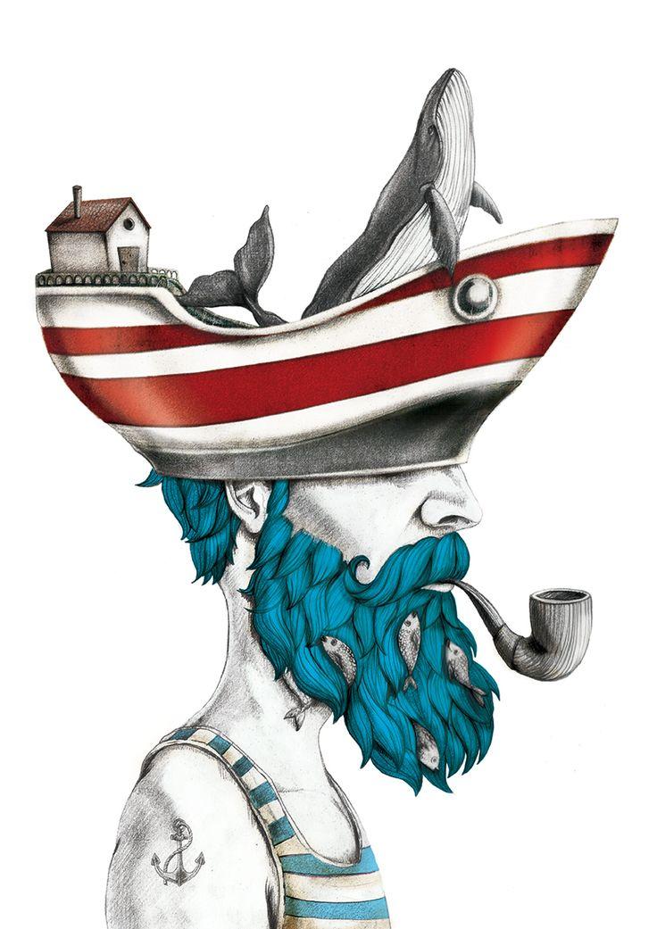 Sea on head #illustration #beardman #sailorman