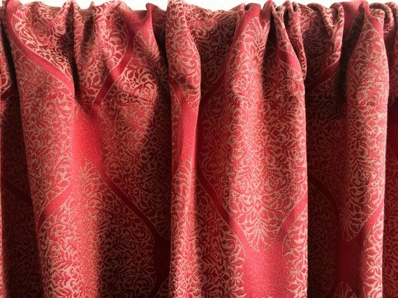 Red Boho curtain panels, Blackout curtains, Window curtains, Silk curtains, Bohemian Door curtains Kitchen curtains 84 96 108 120 inch