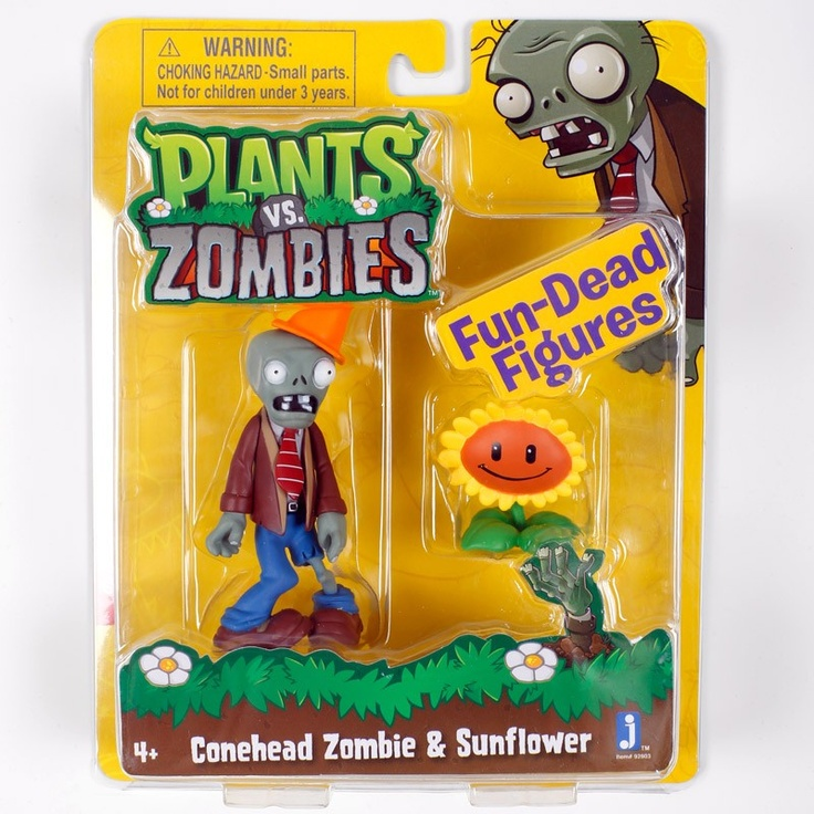 Plants vs. Zombies Store: Conehead Zombie and Sunflower Figurines - Plush & Toys